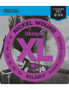 Muta di corde D'Addario exl 120-7 7 corde per chitarra elettrica 09/54