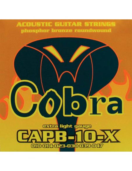 MUTA SET DI CORDE CHITARRA ACUSTICA COBRA 10 47 CAPB-10-X PHOSPHOR BRONZE WOUND EXTRA LIGHT