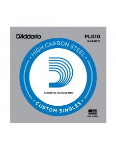 Corda D'addario per chitarra elettrica o acustica Singola plain steel 010 pl010