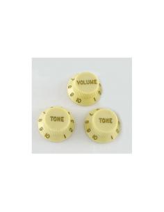 Set di 3 pomelli knobs manopola tipo Stratocaster crema kptv14