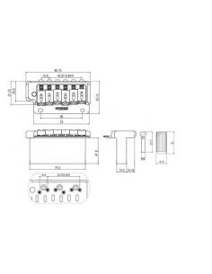 Ponte bridge tremolo Wilkinson WVP2 a 2 viti per chitarra elettrica cromato