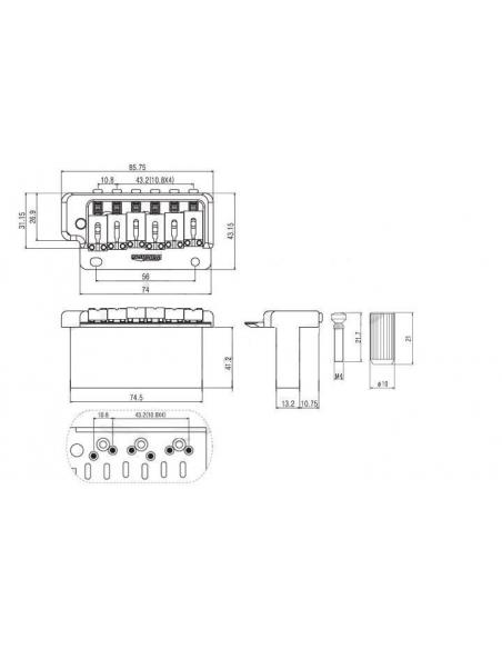 Ponte bridge tremolo Wilkinson WVP2SB CR a 2 viti Steel Block per chitarra elettrica cromato